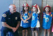 Daisy Troop and firefighters