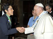 Anna Maria Chavez with Poop Francis
